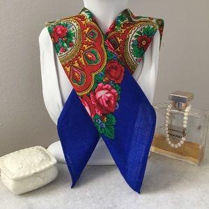 Vintage Square blue floral scarf